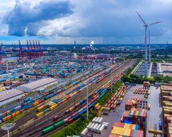 Panorama,Aerial,View,Harbor,Hamburg,Container