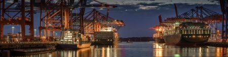 Industrial,Panorama,In,Hamburg,At,Night